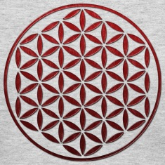 FLOWER OF LIFE - red glass stamp | women's long sl